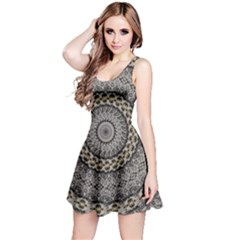 Celestial Pinwheel Of Pattern Texture And Abstract Shapes N Brown Reversible Sleeveless Dress