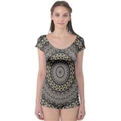 Celestial Pinwheel Of Pattern Texture And Abstract Shapes N Brown Boyleg Leotard  by Nexatart