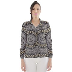 Celestial Pinwheel Of Pattern Texture And Abstract Shapes N Brown Wind Breaker (women)