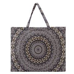 Celestial Pinwheel Of Pattern Texture And Abstract Shapes N Brown Zipper Large Tote Bag by Nexatart