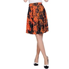 Abstract Orange Background A Line Skirt