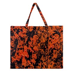 Abstract Orange Background Zipper Large Tote Bag by Nexatart