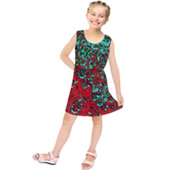 Red Turquoise Abstract Background Kids  Tunic Dress