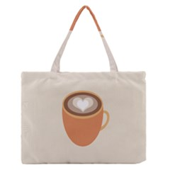 Artin Coffee Chocolate Brown Heart Love Medium Zipper Tote Bag by Mariart