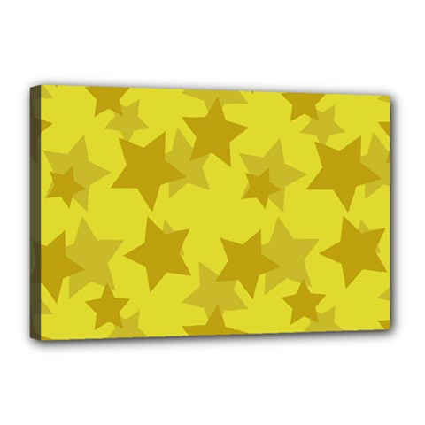 Yellow Star Canvas 18  X 12  by Mariart