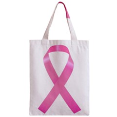 Breast Cancer Ribbon Pink Zipper Classic Tote Bag by Mariart