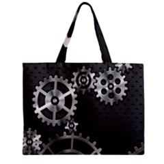 Chain Iron Polka Dot Black Silver Zipper Mini Tote Bag by Mariart