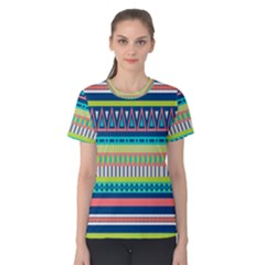 Aztec Triangle Chevron Wave Plaid Circle Color Rainbow Women s Cotton Tee by Mariart