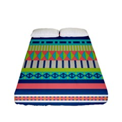 Aztec Triangle Chevron Wave Plaid Circle Color Rainbow Fitted Sheet (full/ Double Size) by Mariart