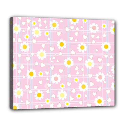 Flower Floral Sunflower Pink Yellow Deluxe Canvas 24  X 20   by Mariart
