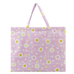 Flower Floral Sunflower Pink Yellow Zipper Large Tote Bag by Mariart