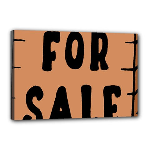 For Sale Sign Black Brown Canvas 18  X 12  by Mariart