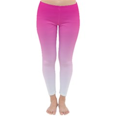 Gradients Pink White Classic Winter Leggings by Mariart