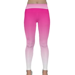 Gradients Pink White Classic Yoga Leggings by Mariart