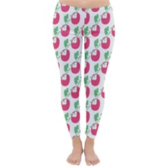 Fruit Pink Green Mangosteen Classic Winter Leggings by Mariart
