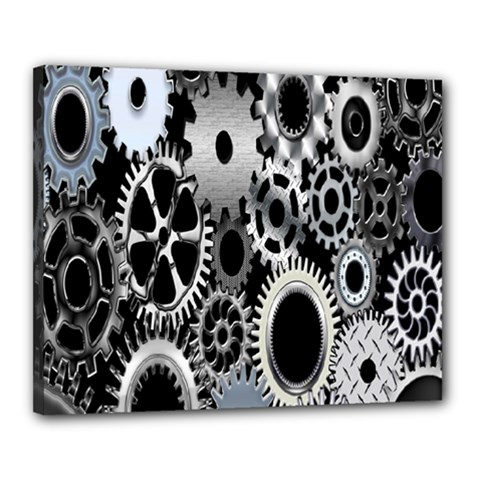 Gears Technology Steel Mechanical Chain Iron Canvas 20  X 16  by Mariart