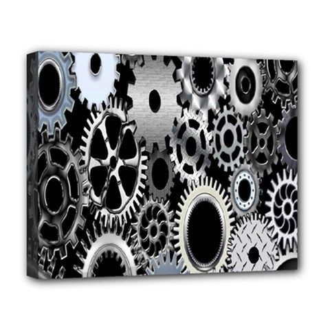 Gears Technology Steel Mechanical Chain Iron Deluxe Canvas 20  X 16   by Mariart