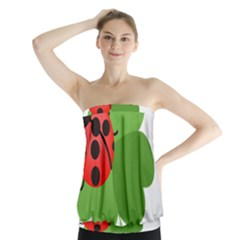 Insect Flower Floral Animals Green Red Strapless Top by Mariart