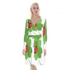 Insect Flower Floral Animals Green Red Long Sleeve Velvet Front Wrap Dress
