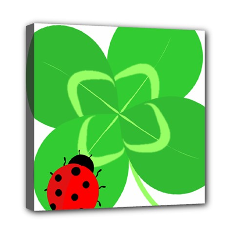Insect Flower Floral Animals Green Red Line Mini Canvas 8  X 8  by Mariart