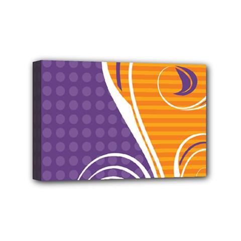 Leaf Polka Dot Purple Orange Mini Canvas 6  X 4  by Mariart