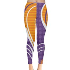 Leaf Polka Dot Purple Orange Leggings