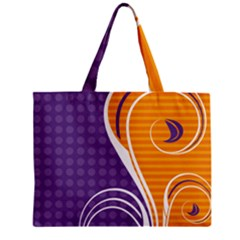 Leaf Polka Dot Purple Orange Zipper Mini Tote Bag by Mariart