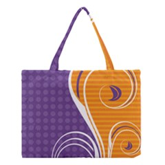 Leaf Polka Dot Purple Orange Medium Tote Bag by Mariart