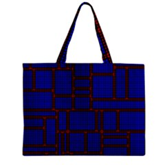 Line Plaid Red Blue Zipper Mini Tote Bag by Mariart