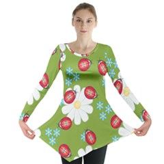 Insect Flower Floral Animals Star Green Red Sunflower Long Sleeve Tunic  by Mariart