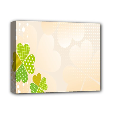 Leaf Polka Dot Green Flower Star Deluxe Canvas 14  X 11  by Mariart
