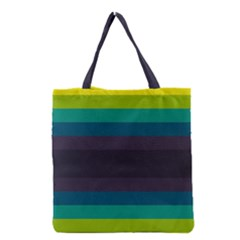 Neon Stripes Line Horizon Color Rainbow Yellow Blue Purple Black Grocery Tote Bag by Mariart
