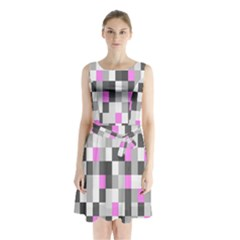 Pink Grey Black Plaid Original Sleeveless Chiffon Waist Tie Dress by Mariart