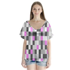 Pink Grey Black Plaid Original Flutter Sleeve Top by Mariart