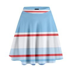 Navy Blue White Red Stripe Blue Finely Striped Line High Waist Skirt by Mariart