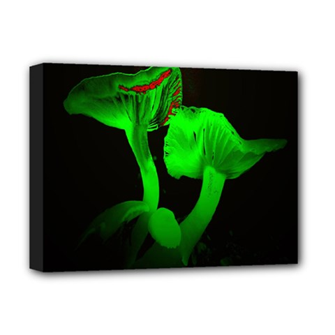 Neon Green Resolution Mushroom Deluxe Canvas 16  X 12   by Mariart