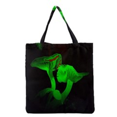 Neon Green Resolution Mushroom Grocery Tote Bag by Mariart