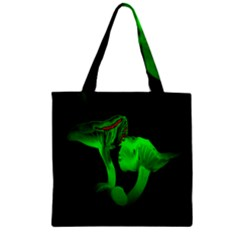 Neon Green Resolution Mushroom Zipper Grocery Tote Bag by Mariart