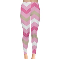 Pink Red White Grey Chevron Wave Leggings  by Mariart