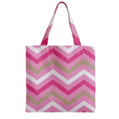 Pink Red White Grey Chevron Wave Zipper Grocery Tote Bag by Mariart
