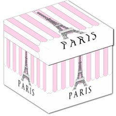 Pink Paris Eiffel Tower Stripes France Storage Stool 12   by Mariart