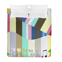 Rainbow Color Line Vertical Rose Bubble Note Carrot Duvet Cover Double Side (full/ Double Size)