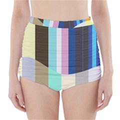 Rainbow Color Line Vertical Rose Bubble Note Carrot High Waisted Bikini Bottoms