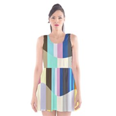 Rainbow Color Line Vertical Rose Bubble Note Carrot Scoop Neck Skater Dress