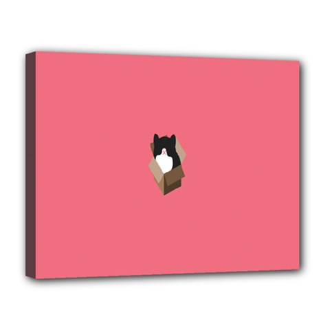 Minimalism Cat Pink Animals Canvas 14  X 11