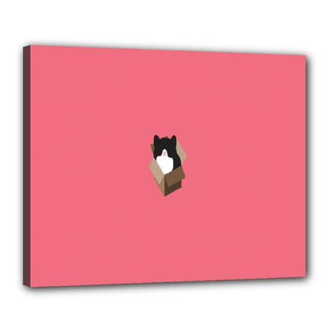 Minimalism Cat Pink Animals Canvas 20  X 16  by Mariart