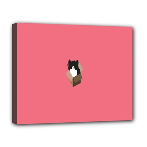 Minimalism Cat Pink Animals Deluxe Canvas 20  X 16   by Mariart
