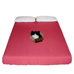 Minimalism Cat Pink Animals Fitted Sheet (king Size)