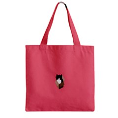 Minimalism Cat Pink Animals Zipper Grocery Tote Bag