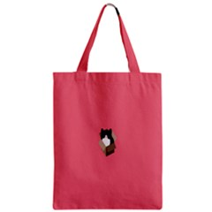 Minimalism Cat Pink Animals Zipper Classic Tote Bag by Mariart
